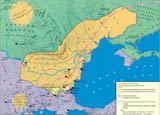 Historische Karte von Bulgarien bei den Khanen Asparuh und Tervel
