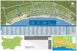 Back - map of Sunny Beach resort, town of Sveti Vlas